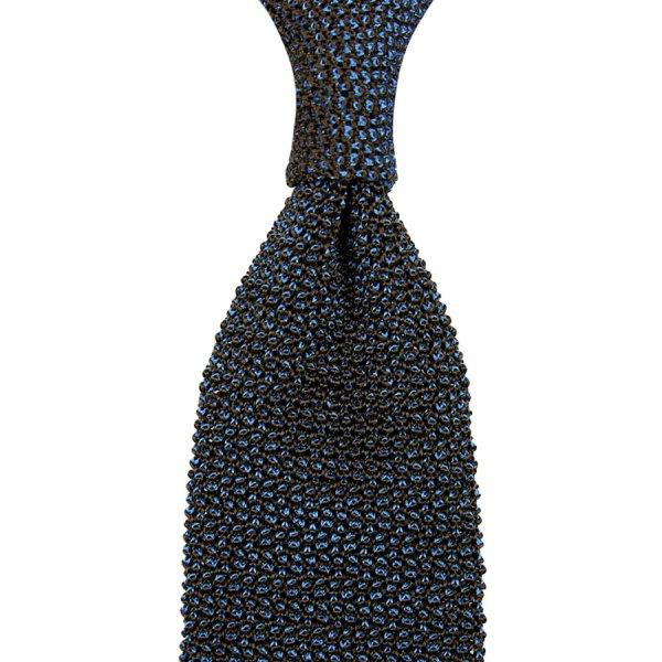 Crunchy Silk Knit Tie - Blue / Brown Mottled