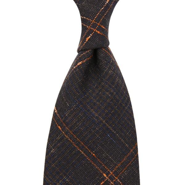 Loro Piana Checked Wool / Silk / Linen Tie - Chocolate - Hand-Rolled