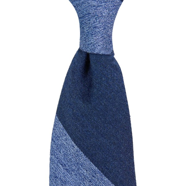Block Stripe Silk / Wool Tie - Navy / Light Blue - Handrolled