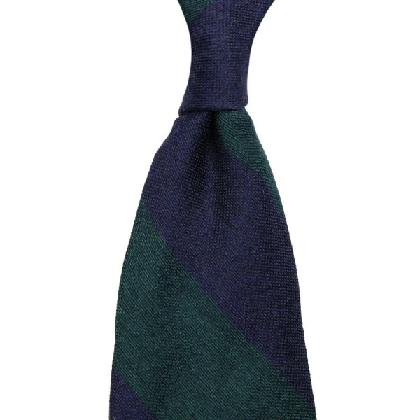 Block Stripe Wool / Silk Tie - Navy / Forest
