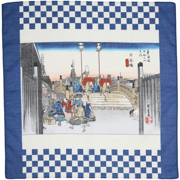 Ukiyo-e Motif Cotton Handkerchief - Navy