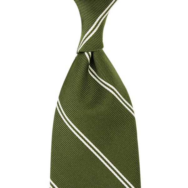 Double Bar Repp Stripe Silk Tie - Olive - Hand-Rolled