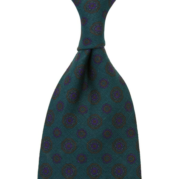 Floral Printed Madder Linen Tie - Forest Green - Hand-Rolled