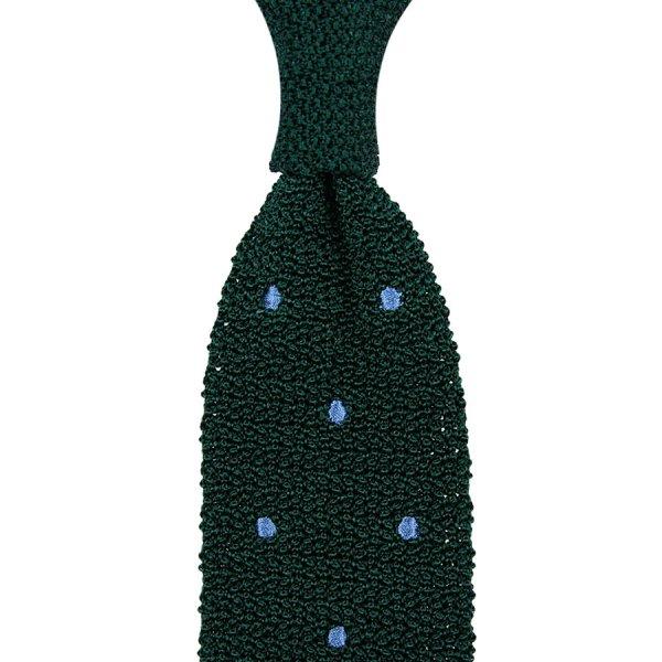 Crunchy Silk Knit Tie - Forest / Blue Dots