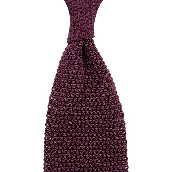 Silk Knit Tie - Eggplant