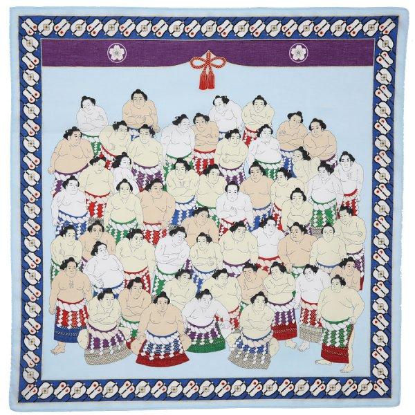 Ukiyo-e Motif Cotton Handkerchief - Purple
