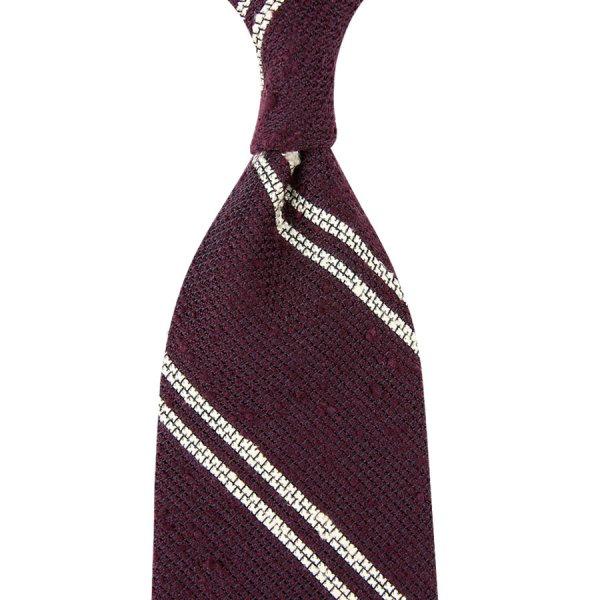 Double Bar Shantung Grenadine Tie - Burgundy - Hand-Rolled