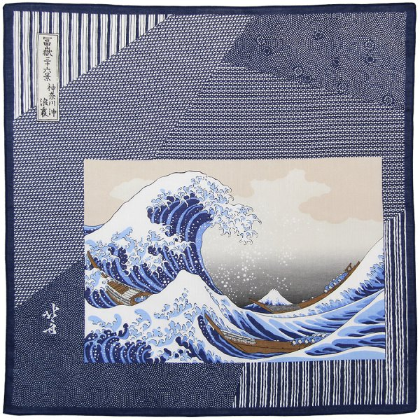 Ukiyo-e Cotton Handkerchief - Navy