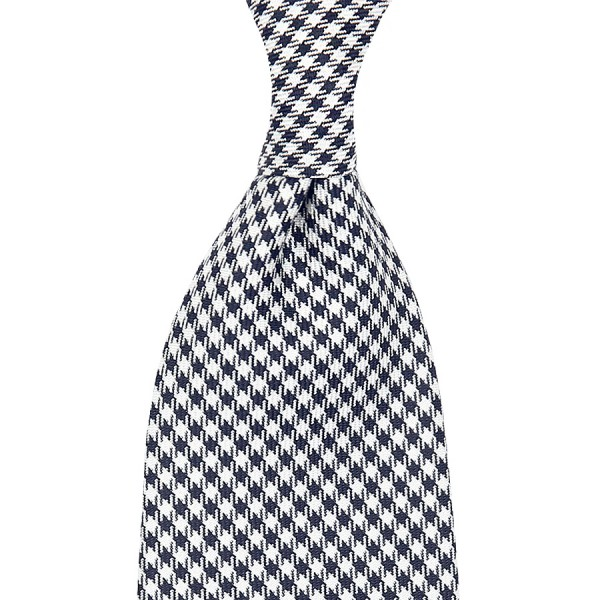 Houndstooth Silk Tie - Navy / White II - Handrolled