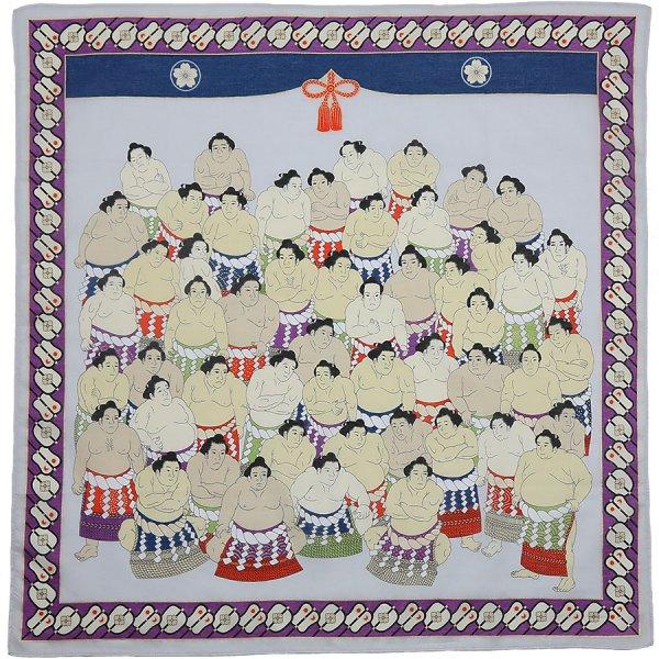 Sumo Motif Cotton Handkerchief - Multicolor