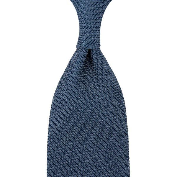 Grenadine / Garza Piccola Tie - Steel Blue - Hand-Rolled