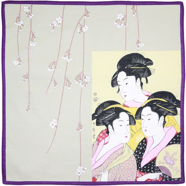 Ukiyo-e Cotton Handkerchief - Purple / Grey