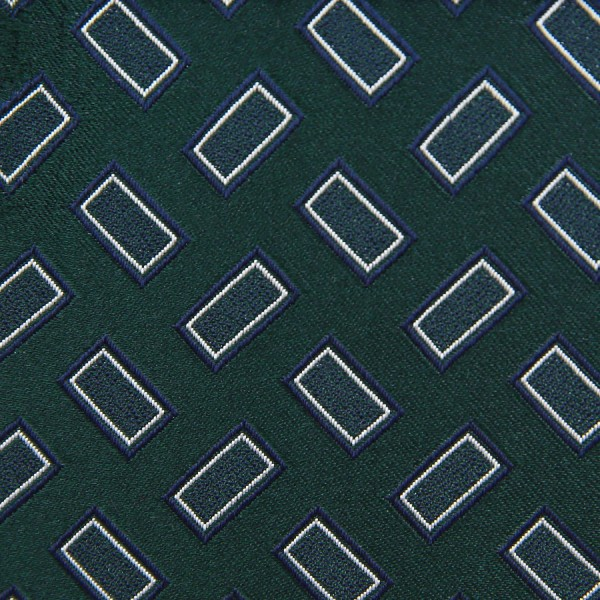 Vintage Geometrical Jacquard Bespoke Tie - Forest Green