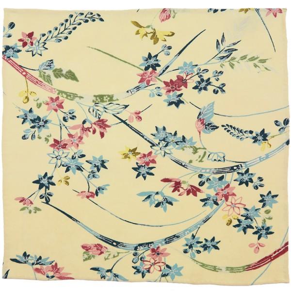 Vintage Kimono Silk Pocket Square - Champagne - Handrolled