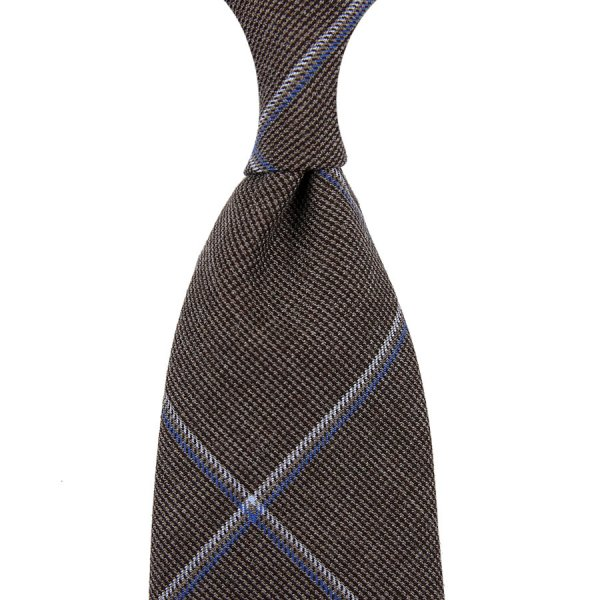 Fox Brothers Checked Wool Tie - Hazelnut - Hand-Rolled