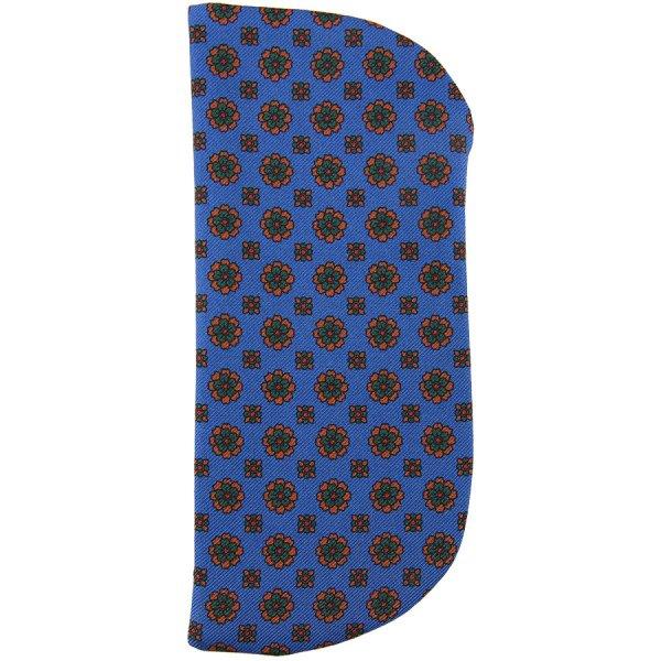 Floral Printed Madder Silk Glasses Case - Madder Blue