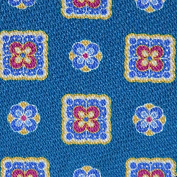 Vintage Printed Silk Bespoke Tie - Blue I
