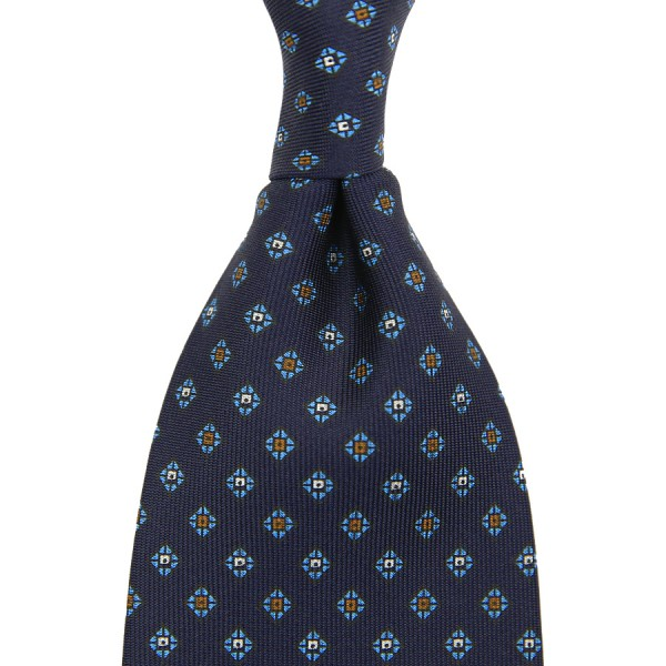 Floral Printed Silk Tie - Navy XIV - Handrolled
