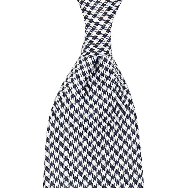 Houndstooth Silk Tie - Black / White - Self-Tipped