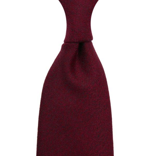 Plain Wool / Silk Boucle Tie - Burgundy - Hand-Rolled