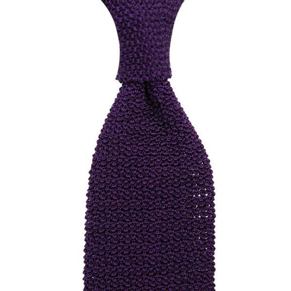 Crunchy Silk Knit Tie - Eggplant