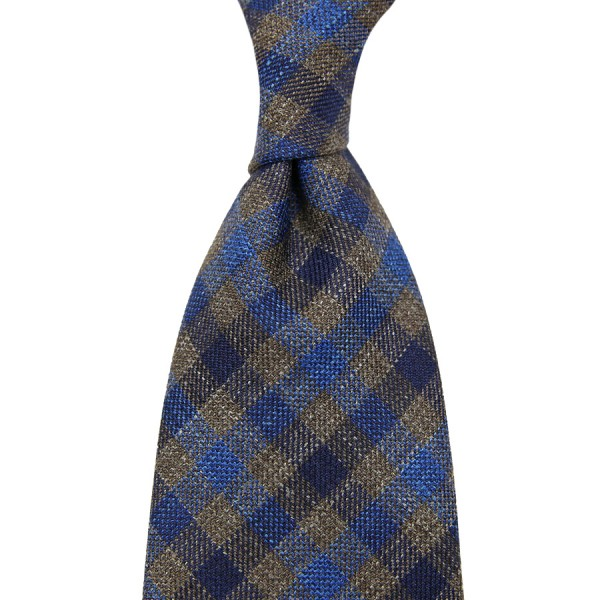 Loro Piana Checked Wool / Linen / Silk Tie - Blue / Brown - Hand-Rolled