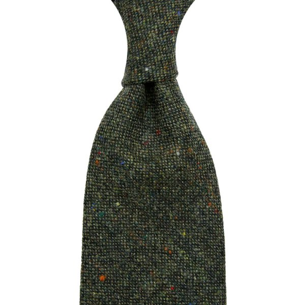 W. Bill Donegal Wool Tie - Forest - Hand-Rolled