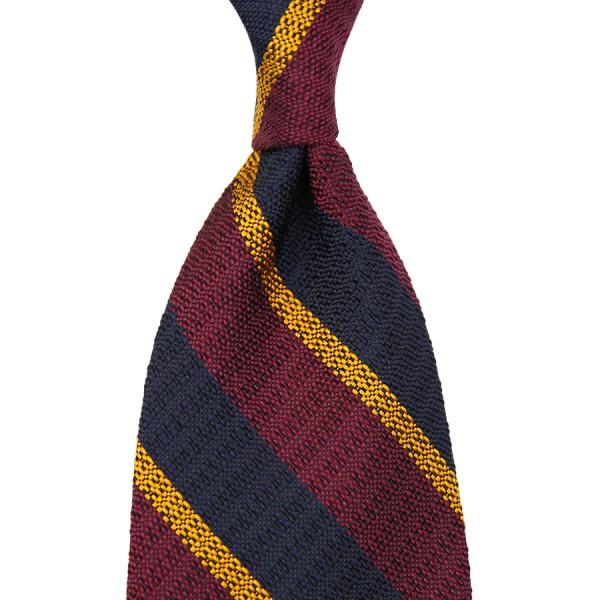 Striped English Grenadine Silk Tie - Navy / Burgundy / Gold - Handrolled