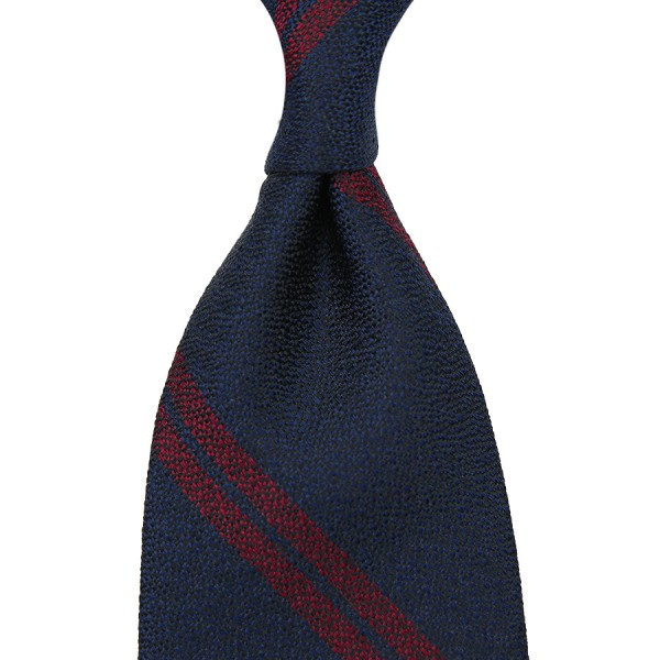Double Bar Boucle Silk Tie - Navy - Handrolled