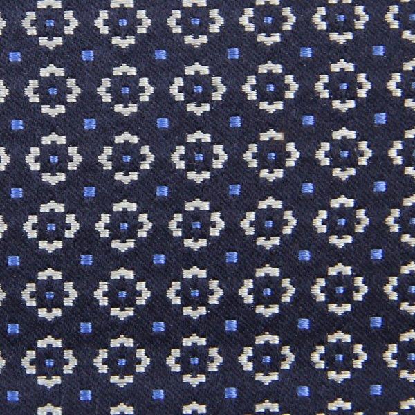 Floral Jacquard Silk Bespoke Tie - Navy II