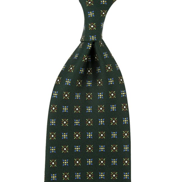 Floral Printed Silk Tie - Madder Green - Hand-Rolled