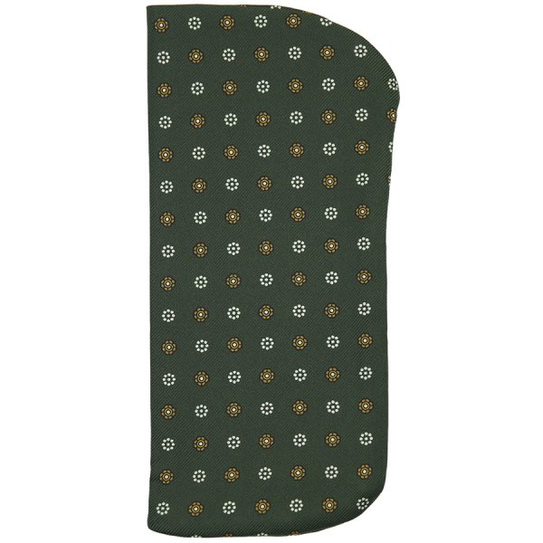Floral Printed Silk Glasses Case - Olive