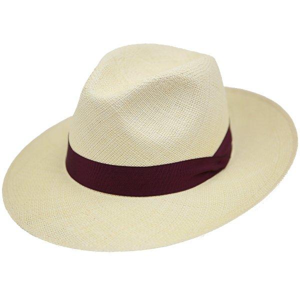 Shibumi Sen Panama Hat - Sand / Burgundy