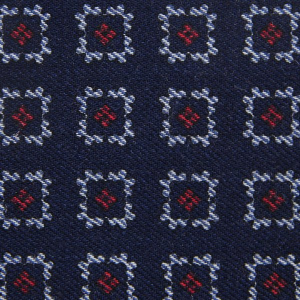 Floral Motif Wool Bespoke Tie - Navy