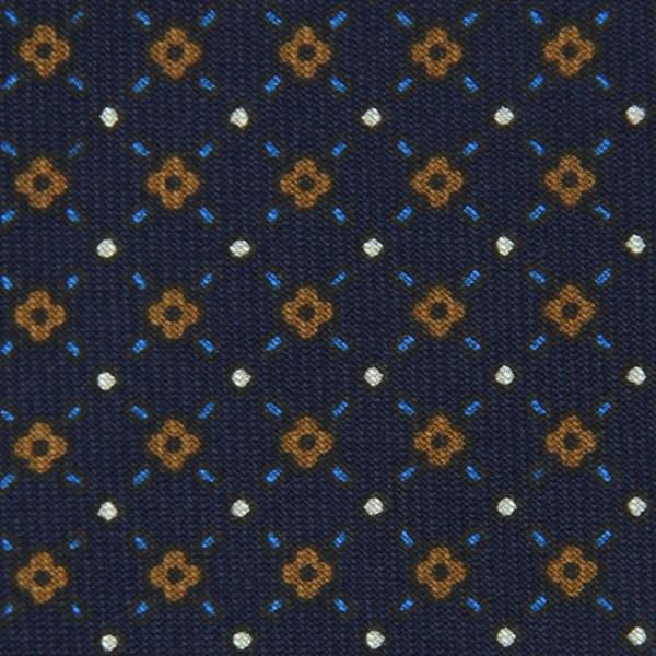 Floral Printed Bespoke Silk Tie - Navy III