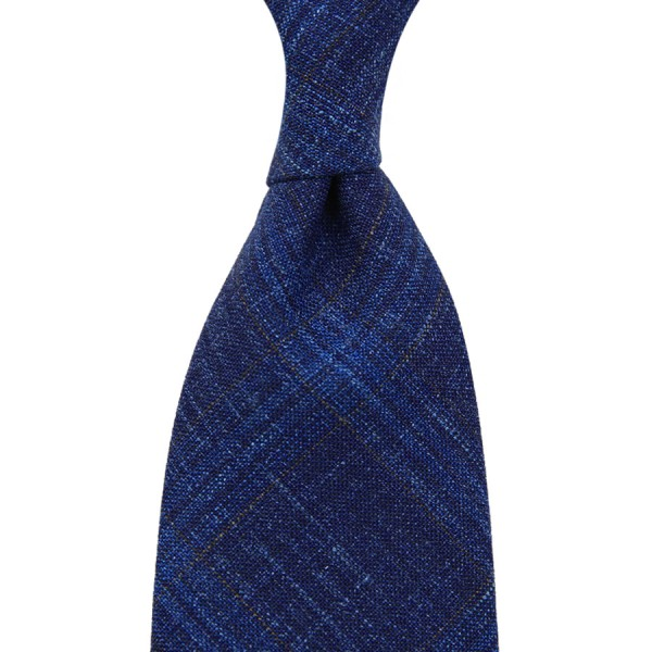 Loro Piana Checked Wool / Silk / Linen Tie - Blue - Handrolled