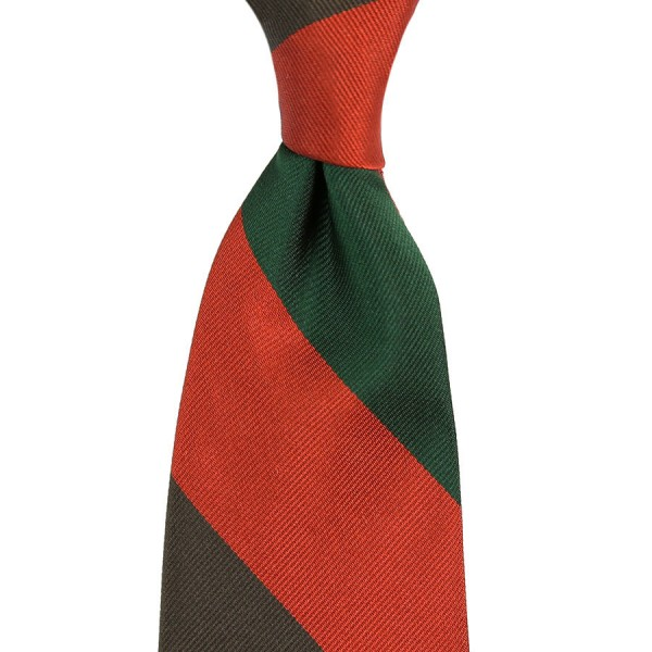 Triple Block Stripe Silk Tie - Forest / Rust / Brown - Handrolled