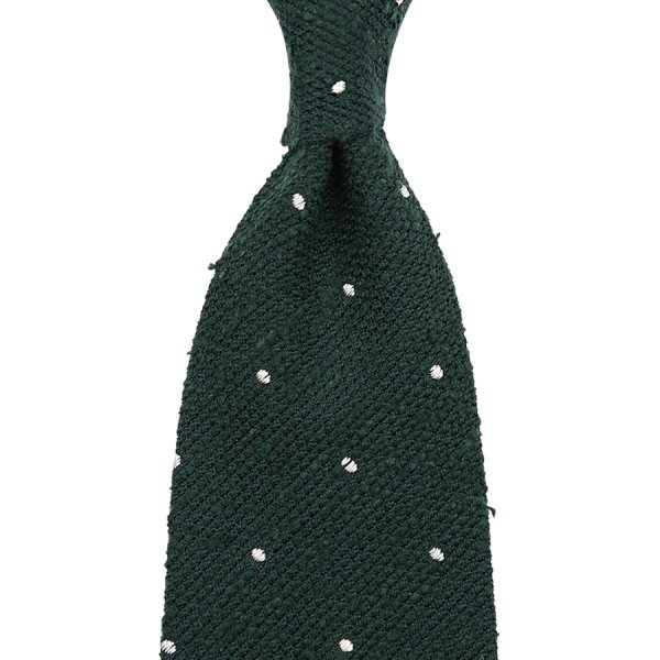 Shantung Silk Grenadine Tie With Dots - Forest Green - Handrolled
