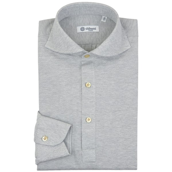 Long Sleeved Polo Shirt - Wide Spread - Light Grey Birdseye - Regular Fit