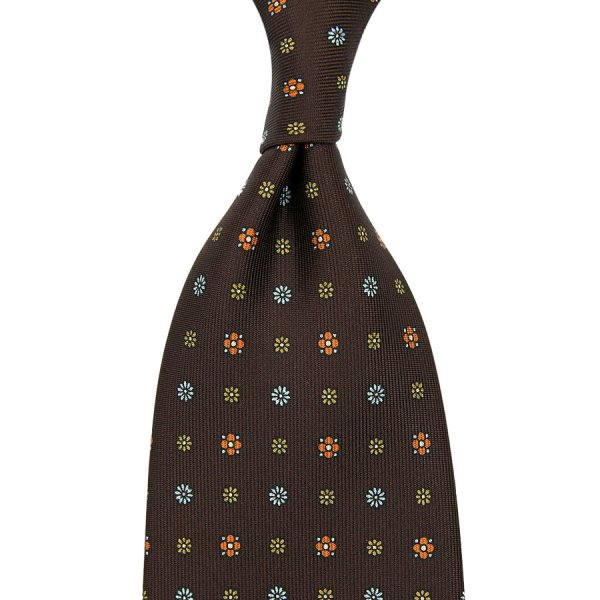 Floral Printed Silk Tie - Chocolate - Hand-Rolled