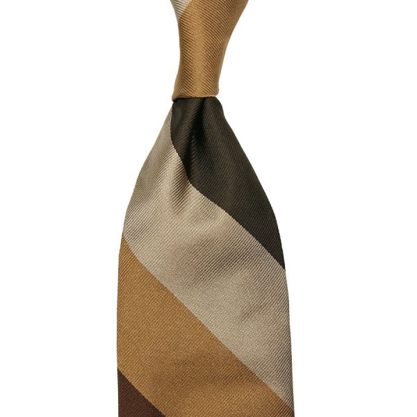 Block Stripe Silk Tie - Brown / Oatmeal / Beige / Olive - Hand-Rolled