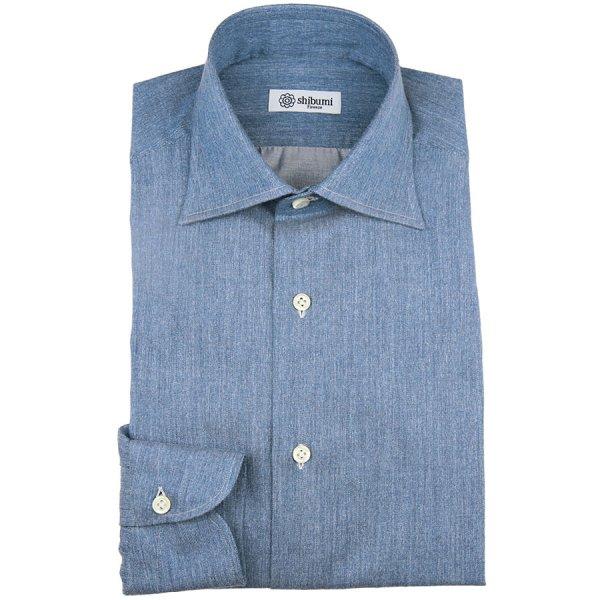 Carlo Riva Cotton / Cashmere Denim Twill Shirt - Blue - Semi Spread