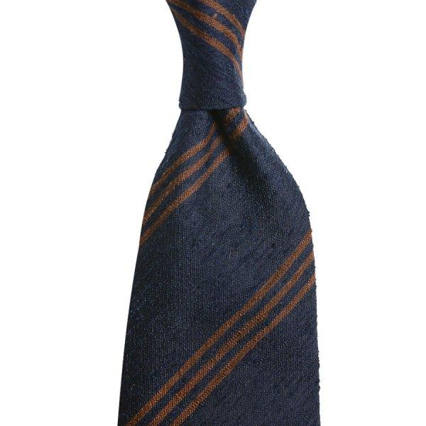 Triple Bar Shantung Silk Tie - Navy / Brown - Hand-Rolled