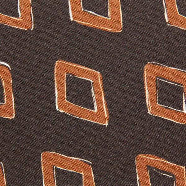 Vintage Printed Silk Bespoke Tie - Brown IV