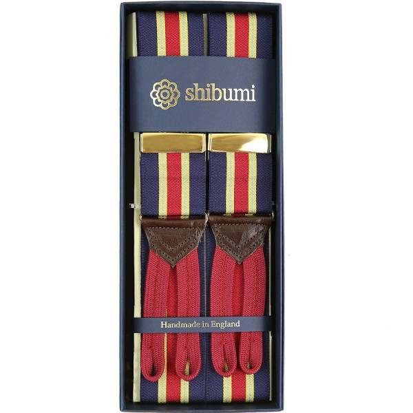 Barathea Braces - Navy / Red / Yellow