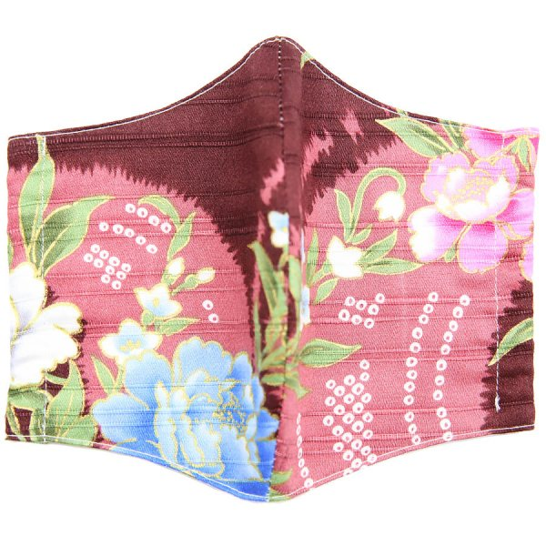 KImono Pattern Washable Cotton Mask - Burgundy I