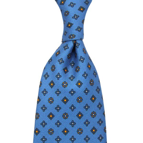 Floral Printed Silk Tie - Sky - Self-Tipped