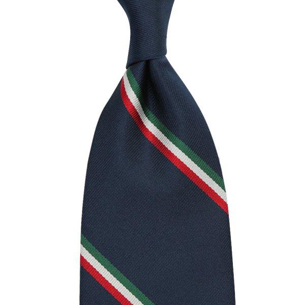 Tricolore Repp Stripe Silk Tie - Navy - Hand-Rolled