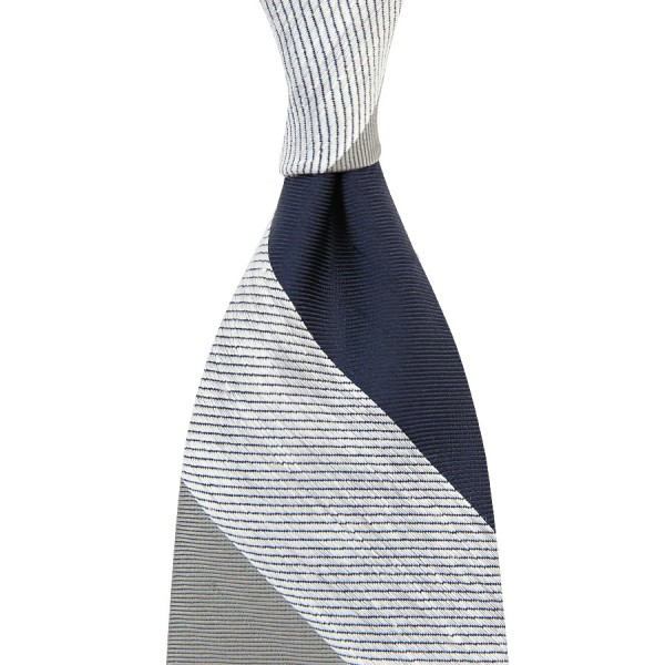 Triple Block Stripe Tussah Silk Tie - Navy / White / Grey - Hand-Rolled