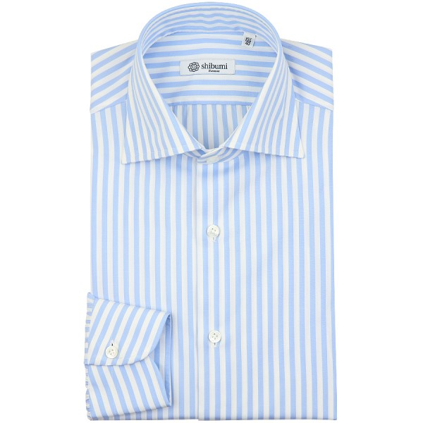 Poplin Semi Spread Shirt - White / Sky Blue - Butcher Stripe